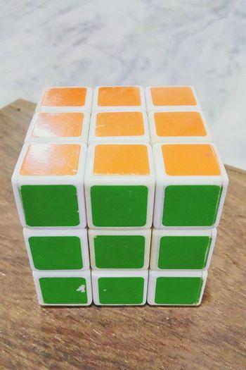 Rubik's cube Night No Flash Rubik's Cube Puzzle  Colors Orange Color Green Color Green Smart Math Memorise Easy Home Decoration  EyeEmNewHere