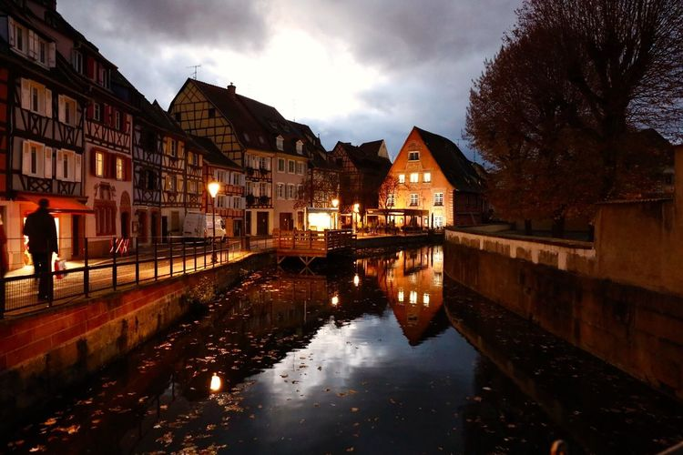 Colmar France Colmar Architecture Autumn🍁🍁🍁 Water Reflections Landscape_photography Traveling Street Photography Night Photography Night Lights Night At Colmar Night Shot Cloud And Sky