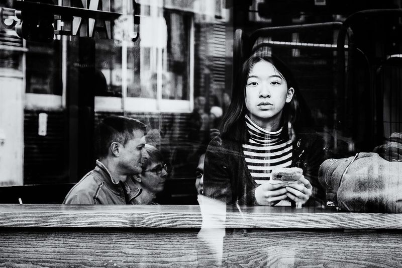 Street Scene, London Portrait Of A Woman Two People Girls Childhood Elementary Age Togetherness Sitting Day Close-up Young Adult People