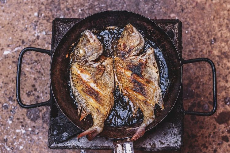 Directly above shot of cooked fish in pan