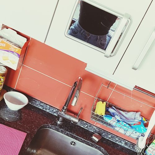 kitchen selfie Tiny Mirror Kitchen Waist Indoors