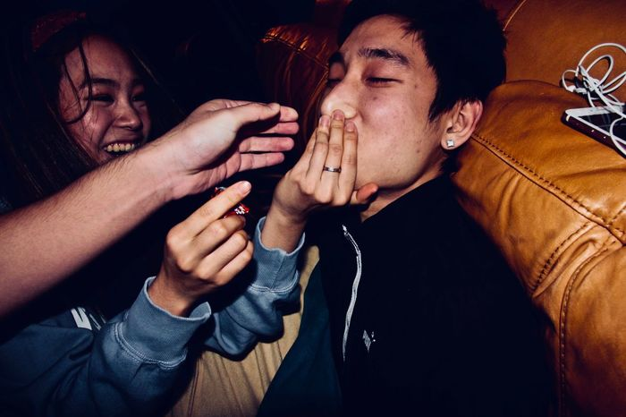 Alcohol Bonding Casual Clothing Celebration Enjoyment Friendship Fun Happiness Indoors  Leisure Activity Lifestyles Men Night Nightlife People Real People Smiling Togetherness Young Adult