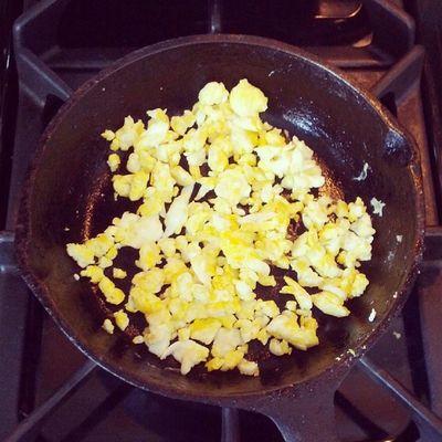 Scrambled eggs for Leland. Babyfood