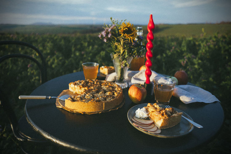 Close-up of apple pie served on table in a field