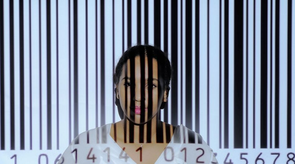 Barcode Barcodeproject Beamer Front View Hiding Human Eye Indoors  Looking At Camera One Person Project Projection Screen Scanner  Schoolproject Technology