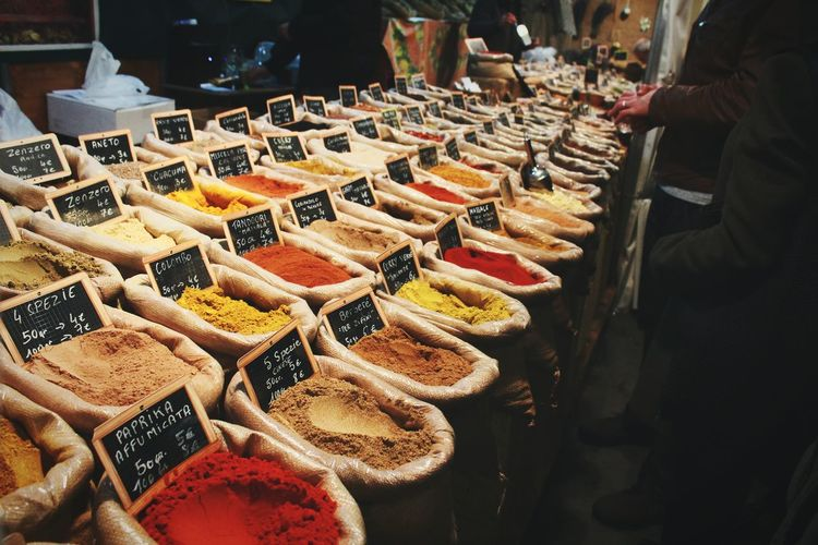 Variety Of Spices In Market