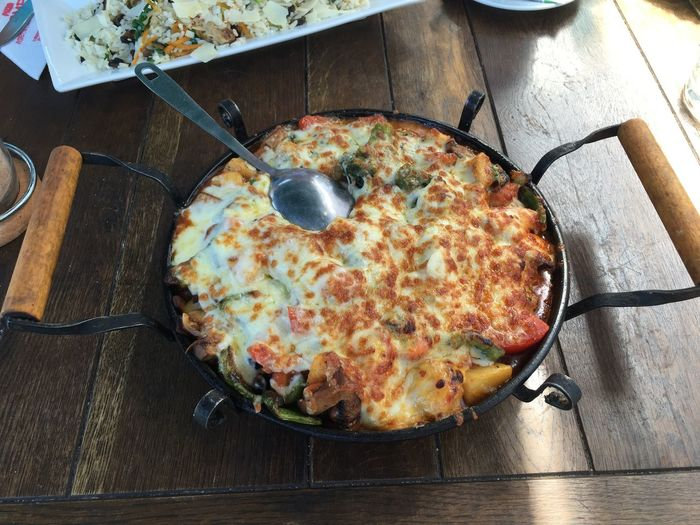 High angle view of food in casserole on table