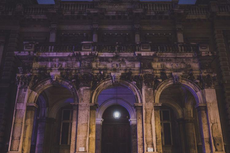 Illuminated Historic Building At Night