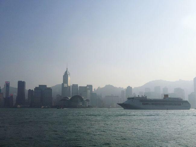 Hong Kong Avenue Of Stars Boat Cruise Ship Bay Water Skyline Sun