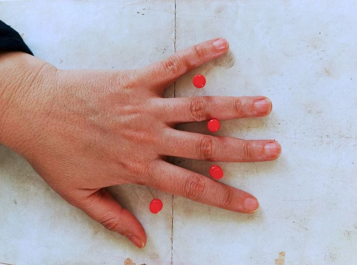 Hand and pins Red Pin Pins Human Hand Human Body Part Human Finger One Person Nail Polish Ring Fingernail People Manicure Close-up Palm Indoors  Child Adult One Woman Only Day