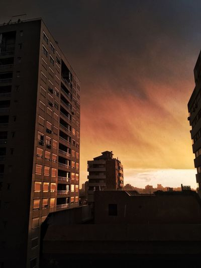 Architecture Building Exterior Sunset Sky Outdoors Low Angle View Storm Cloud Stormy Weather Black Sky Burning Sky The Week On EyeEm The Week On EyeEm EyeEmNewHere The Week On EyeEm