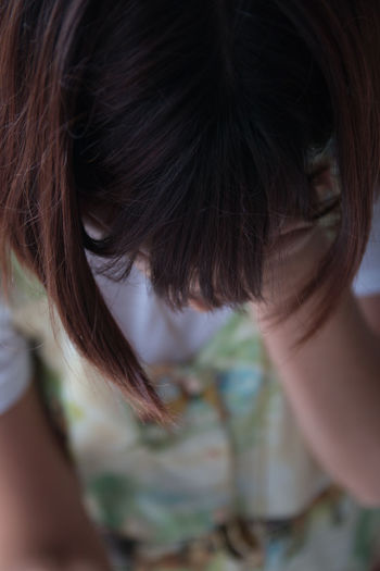 Close-up portrait of worried woman