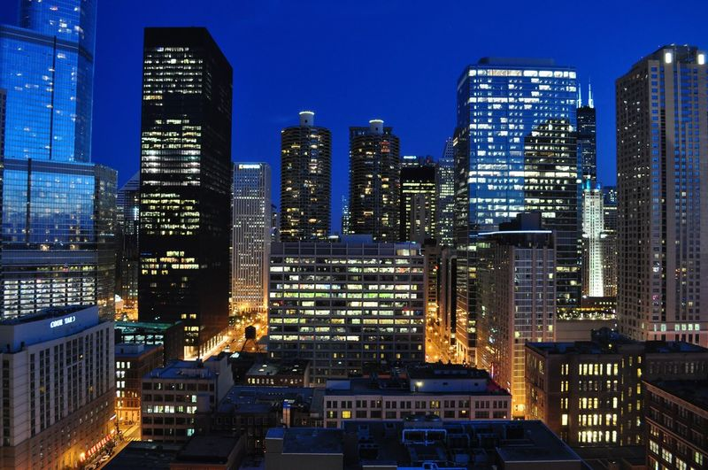Chicago Skyline Building Exterior Architecture City Illuminated Built Structure Building Office Building Exterior