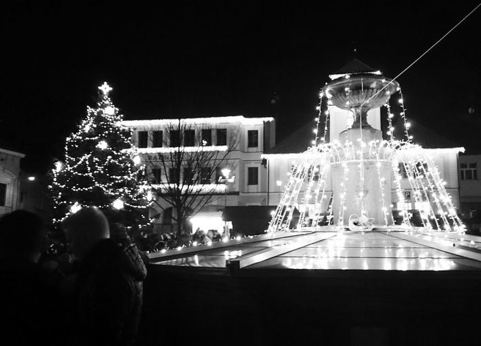 Christmas Tree Christmas Lights Christmas Decorations Celebration Town Night Winter Cold Snow EyeEm Best Shots