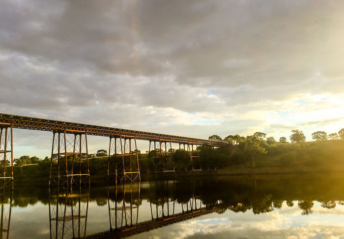 Rail road bridge above the Melton Reservoir Morning Reflection Tree Architecture Beauty In Nature Bridge Cloud - Sky Day Evening Forest Lake Melton Nature No People Outdoors Rail Reflection Reservoir Sky Sunset Tree Water Wood - Material