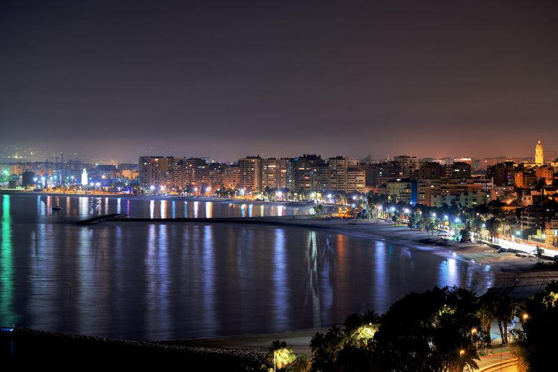 Málaga beach at nigh