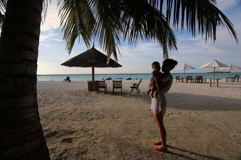 Baby Family Holiday Maldives Mother & Daughter Beach Beauty In Nature Day Lifestyles Motherlove Outdoors Palm Tree Scenics Vacations