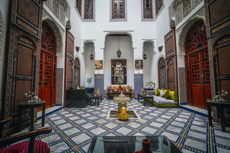 Our stay at the Riad Noujoum Medina. Fes-Boulemane, Morocco. Fes Morocco Travel Destinations Travel Photography EyeEmNewHere Travelling Digital Nomad Architecture Built Structure Building Building Exterior Door Entrance No People Arch Day History The Past Spirituality Belief Lighting Equipment Religion Place Of Worship Architectural Column Riad
