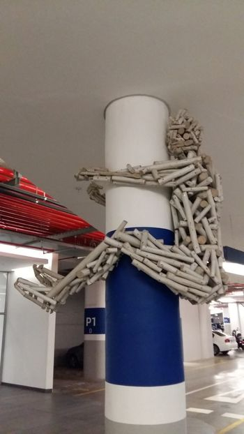 Basement Carpark Basement Art Don't Let Go Yikes! Stick Figure Sculpture Holding On Tight