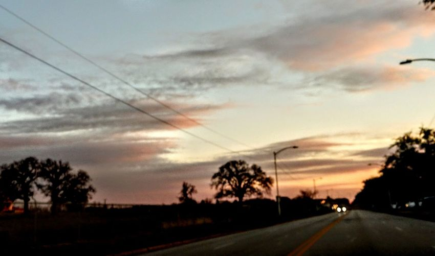 long way from home Tree Telephone Line Sunset Road Rural Scene Silhouette Thunderstorm Cable Car Sky