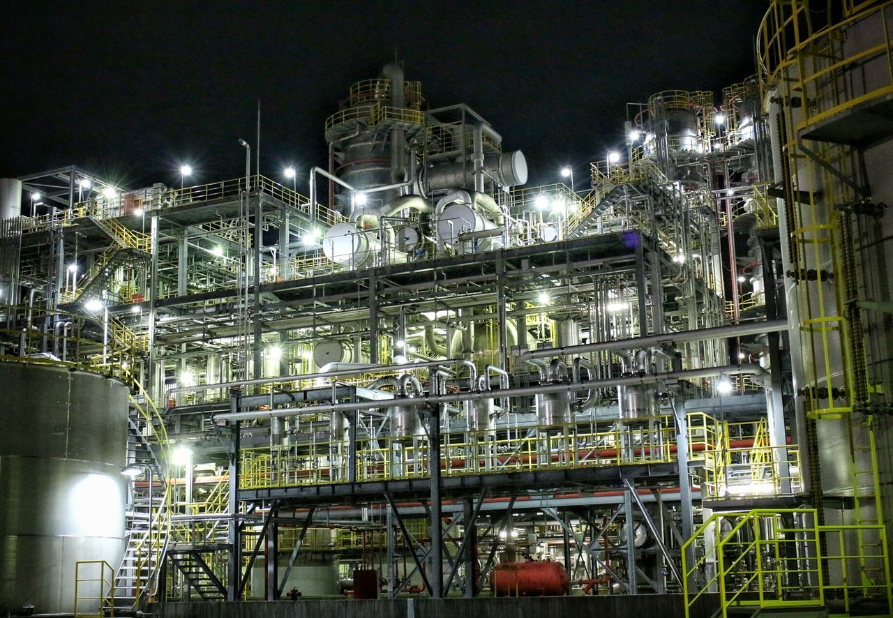 illuminated, night, architecture, built structure, building exterior, factory, industry, no people, oil refinery, outdoors, sky