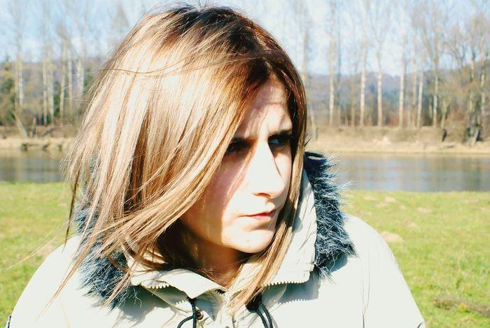 Confused girl Polish Girl River Spring San Sanok