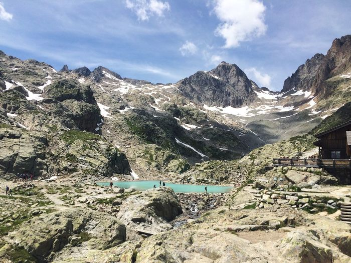 Lac Blanc Hiking Hiking Trail Landscape View On Top