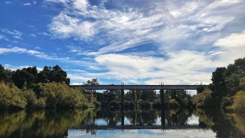 One of the old train Bridges that cross the Derwent River, Tasmania Tasmania Bridge Train Cloud - Sky Sky Reflection Water Tree Outdoors Day