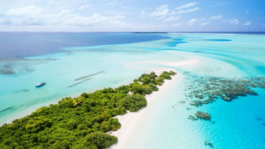 Maldives Beach Sea Horizon Over Water Scenics Water Turquoise Colored Tranquil Scene Beauty In Nature Nature Sky Tranquility Idyllic Sand Day Tropical Climate Aerial View Cloud - Sky Landscape Outdoors No People