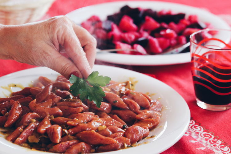 Beetroot Pasta Gnocchihomemade Abruzzo Traditions Italian Lifestyle Italian Food Gnocchi Di Patate Food And Drink Plate Food Human Body Part Indoors  Table Sweet Food Human Hand Ready-to-eat Freshness One Person Red Close-up One Woman Only Healthy Eating Adult Food Stories
