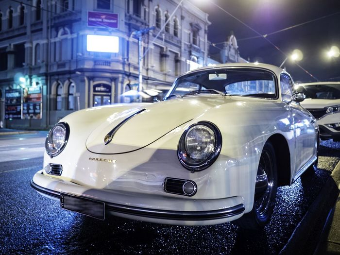 Random classic porsche Beautiful Car Cars Classic Classic Car Design Illuminated Mode Of Transport Nightphotography Porsche Retro Stationary Wide Angle
