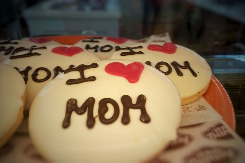 cookies for mother's day Mother's Day Mom Love Heart Shape Food Sweet Sweet Food Communication Alphabet Love Single Word Text Celebration Luck Heart Shape Western Script Close-up Written Note - Message I Love You Message Handwriting  Cake Candy Heart Love Letter Note Short Phrase Cheesecake Calligraphy Greeting Card