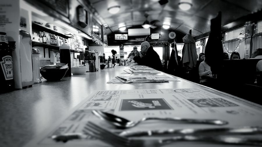 Counter Perspective Jigger's Diner Food Sitting At The Counter View People Watching Interesting Perspectives E Greenwich, Ri Usa EyeEm Best Shots - Black + White B&w Edit Dinerporn Diner Patrons Having Breakfast S6