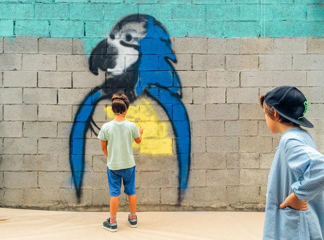 Art Art And Craft Artattack Barcelona Birds Communication Creativity Creativity Day Friendship Graffiti Graffiti Happiness Kids Lifestyle Multi Colored Person Perspective Sidewalk Street Street Art Street Artists Togetherness Urban Wall Wall - Building Feature