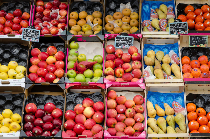 Abundance Apple - Fruit Business Choice Day Food Food And Drink For Sale Freshness Fruit Healthy Eating Large Group Of Objects Market Market Stall Multi Colored No People Outdoors Peach Pear Persimmon Price Tag Red Retail  Supermarket Variation