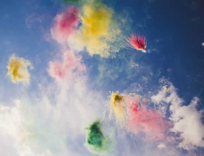 Colour Cloud - Sky Sky Multi Colored Low Angle View Nature Celebration Motion No People Event Firework Outdoors Arts Culture And Entertainment Exploding Blurred Motion Celebration Event Beauty In Nature Firework Display