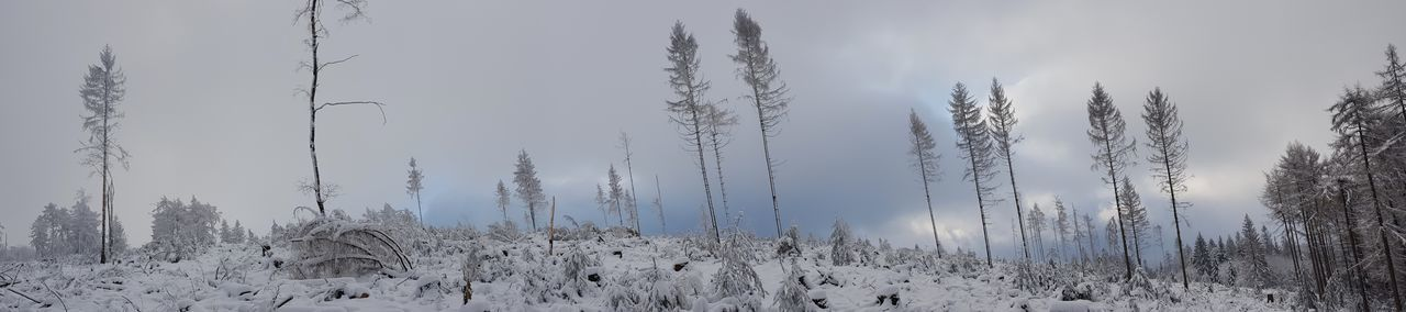 Panoramic shot of snow covered field against sky