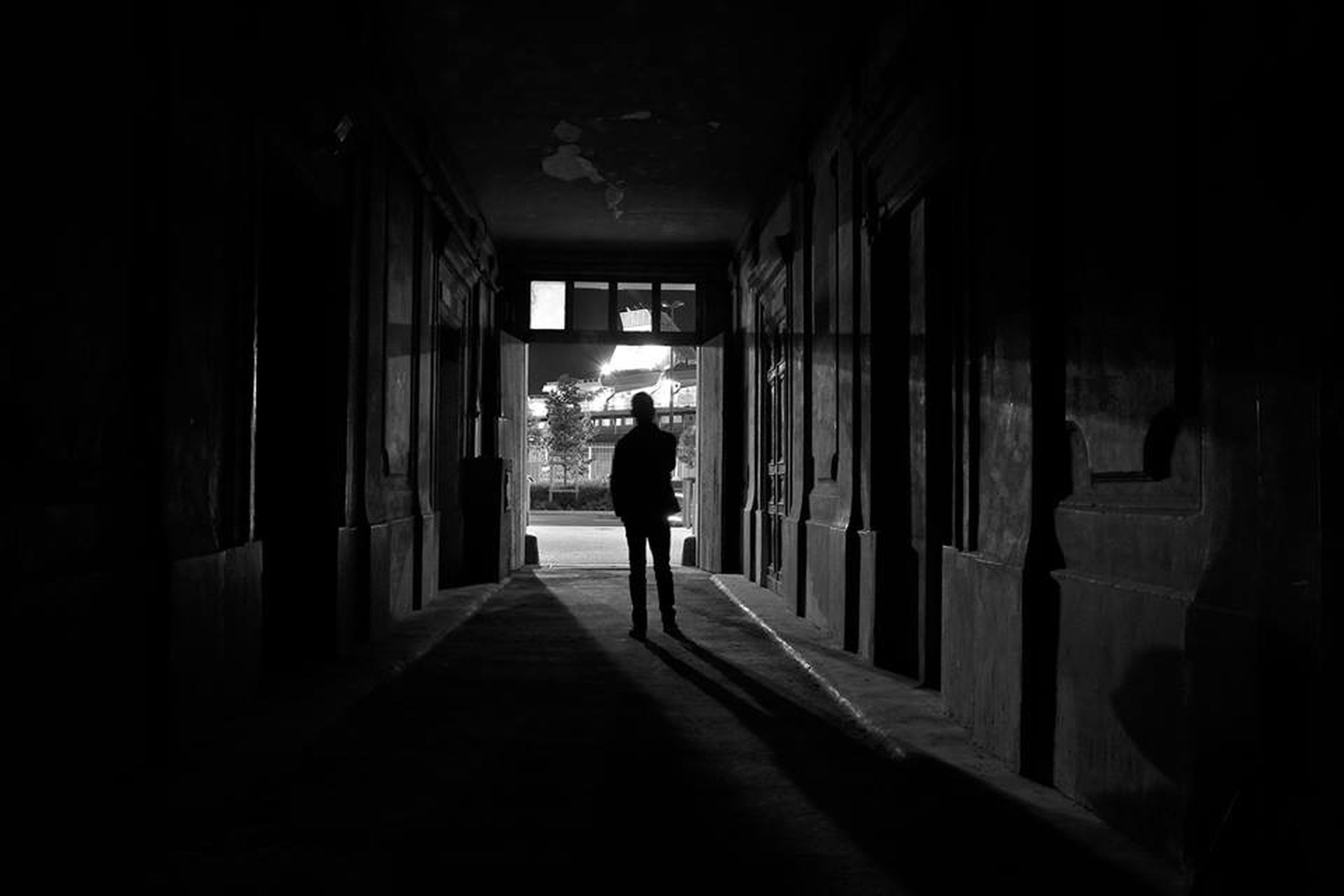 full length, rear view, architecture, walking, built structure, indoors, men, lifestyles, the way forward, corridor, silhouette, building exterior, person, standing, leisure activity, building, day, tunnel