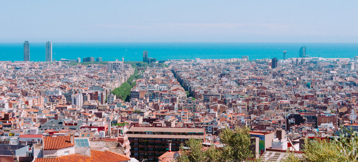Panorama of Barcelona Barcelona Catalonia Panorama Rambla Torre Mapfre Architecture Building Exterior Built Structure Catalunia City Cityscape Clear Sky Day High Angle View Horizon Horizon Over Water Nature No People Outdoors Sea Sky