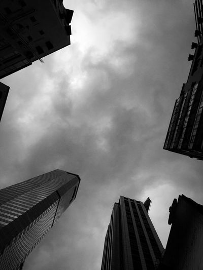 Sky And Clouds Hong Kong Skyline Cityscape Hong Kong Architecture Buildings & Sky Urban Geometry Buildings And Light Black & White Pattern, Texture, Shape And Form IPhoneography Light And Dark Reflections And Shadows