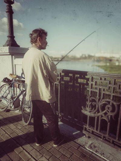Fishman Bridge Russian Chelyabinsk Fishman City People Enbankment Sunny Day
