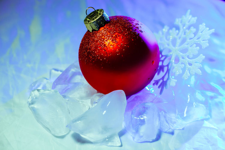 Close-Up Of Christmas Decoration On Ice
