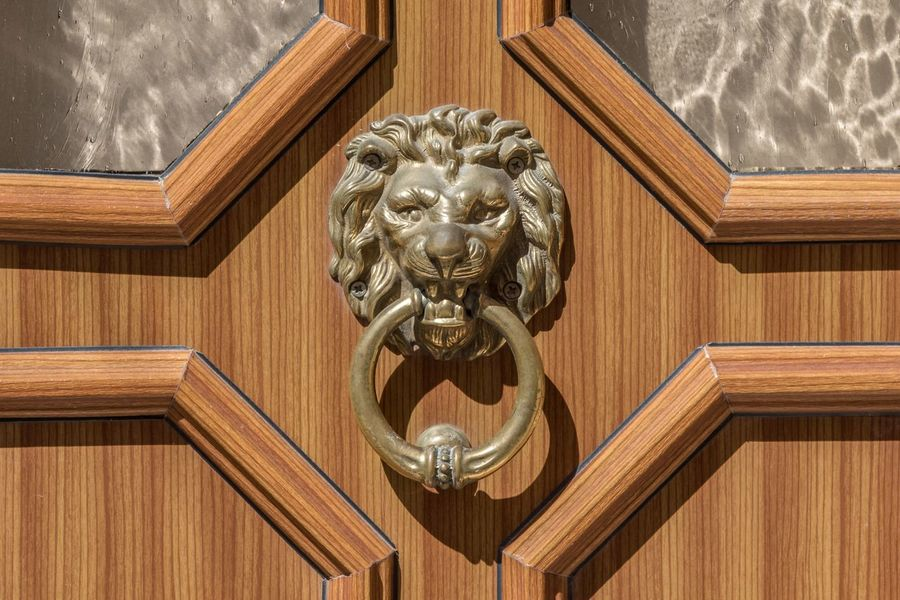 Art And Craft Brass Close-up Detail Door Door Knocker Entrance Entry Exterior Eye4photography  Home Knob Knocker Lion Lions Head Metal No People Ornate Sculpture Wooden