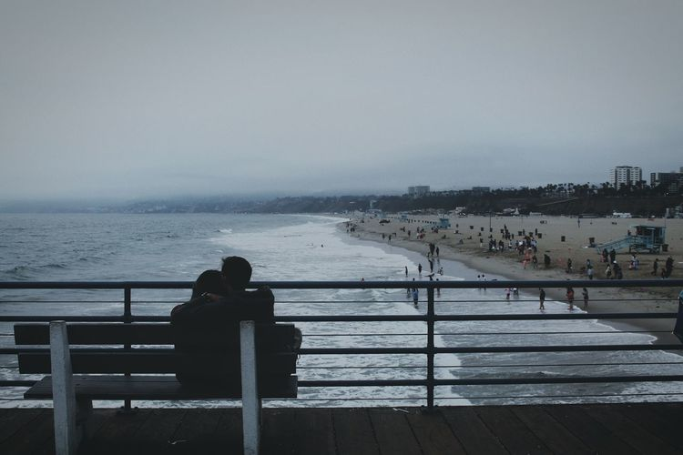 Travel Photography Santa Monica Pier Beach Sea Water Couple Coupleshot People Beach Life City Life California Calovefornia Summer Fun Place Of Heart Live For The Story The Great Outdoors - 2017 EyeEm Awards The Street Photographer - 2017 EyeEm Awards Let's Go. Together. #urbanana: The Urban Playground