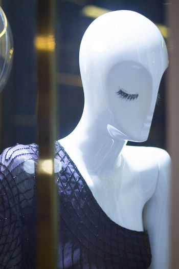Close-up of dress on mannequin in store