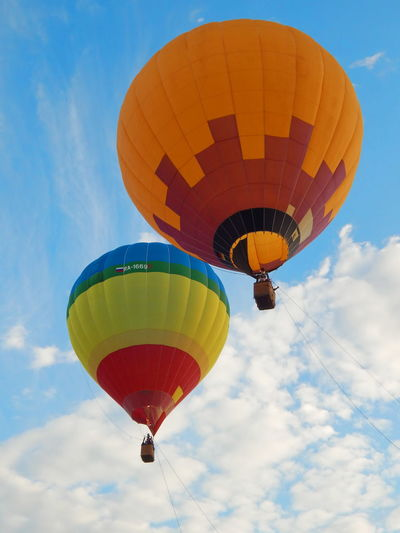 Festival of air balloons Ballooning Festival Blue Blue Sky Clouds And Sky Day Festival Festival Of Balloons Flying High Hot Air Balloon Multi Colored No People Outdoors Sky Two Vacations A New Beginning