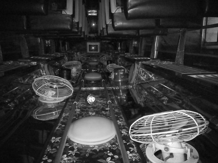 Indoors  No People Large Group Of Objects Night Architecture Blackandwhite Blackandwhite Photography Smartphonephotography Urbanlife Public Transportation Technology Travellingtheworld Journey Destination Transportations Bus Ideas Conceptual Photography  Bangkok ASIA Travel Photography Interior Fan Space And Astronomy Imagination Galaxy