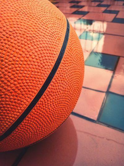 High angle view of basketball on floor