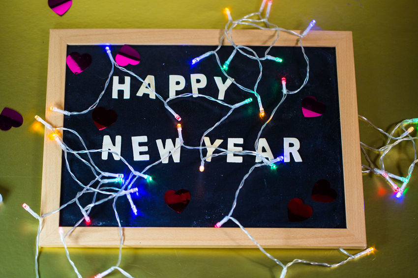 Happy New Year Chalkboard Indoors  Multi Colored No People Art And Craft Close-up Text Creativity Communication Blackboard  Western Script Representation Decoration Board Shape Celebration Sport Illuminated Animal Representation Box Design