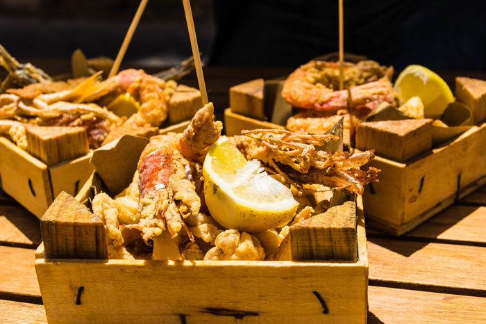 Cibo Da Strada Fish Food Fritto Misto Frittura Pesce Streetfood